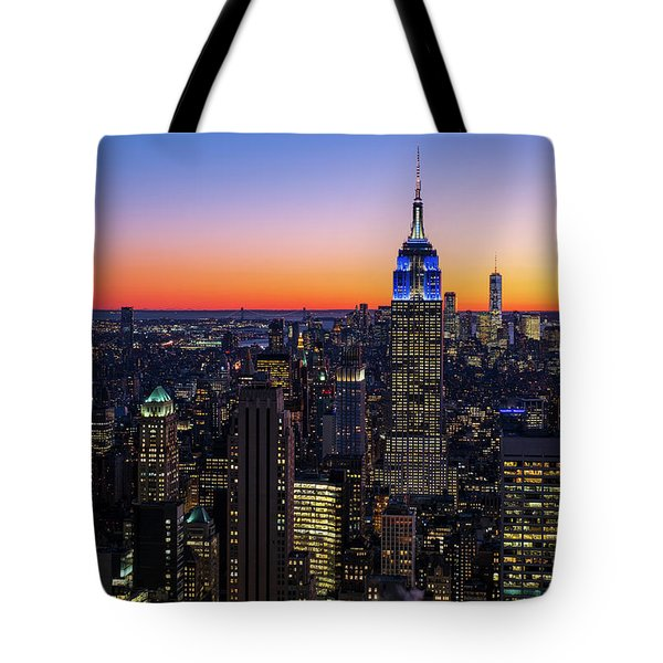 Empire State Building And Lower Manhattan At Sunset Tote Bag
