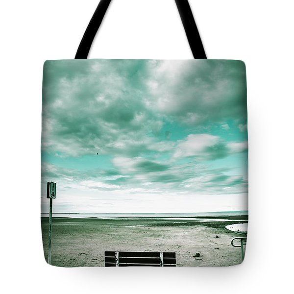 Empty Beach Bench Tote Bag