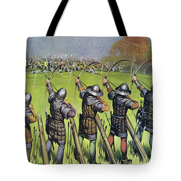 English Archers At The Battle Of Agincourt Tote Bag