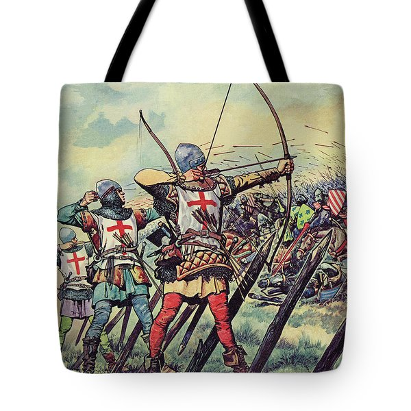 English Bowmen At The Battle Of Crecy Tote Bag