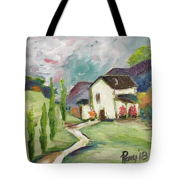 English Cottage Landscape Tote Bag