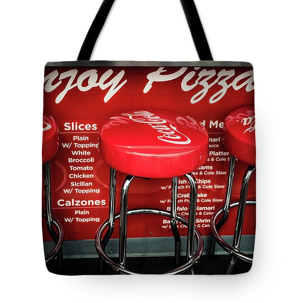 Tote Bag featuring the photograph Enjoy Pizza And A Coke by Steve Stanger