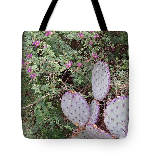Tote Bag featuring the photograph Ensconced Prickly Pear 5 by Lynda Lehmann