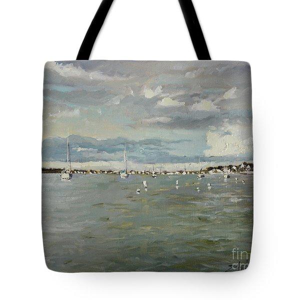 Entering Sunset Marina Tote Bag
