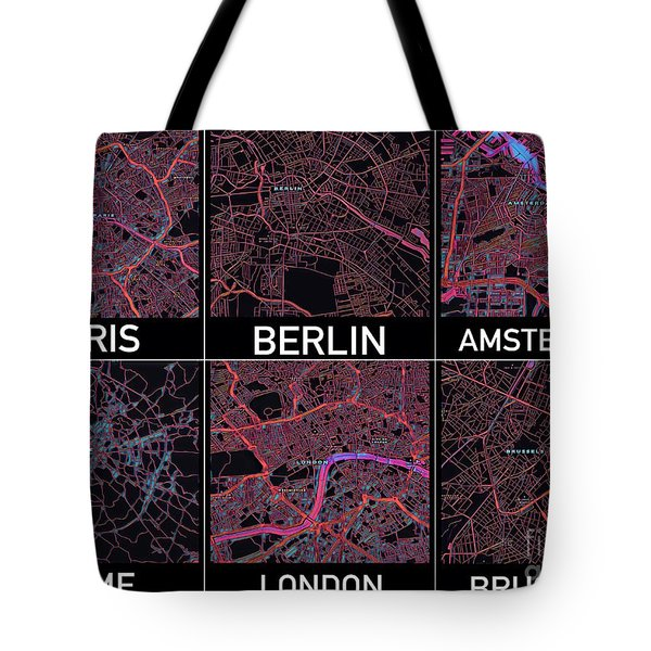 Tote Bag featuring the digital art European Capital Cities Maps by Helge