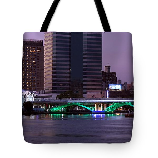 Evening View Of The Love River And Illuminated Bridge Tote Bag
