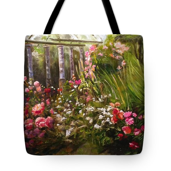 Tote Bag featuring the painting Columns At Evergreen Arboretum by J Reynolds Dail