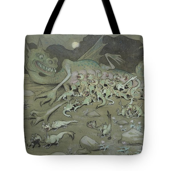 Tote Bag featuring the drawing Evil Powers by Ivar Arosenius