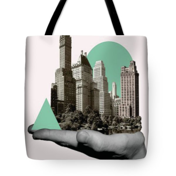Exquisite Buildings On Palm Tote Bag