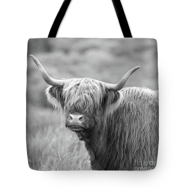 Face-to-face With A Highland Cow - Black And White Tote Bag
