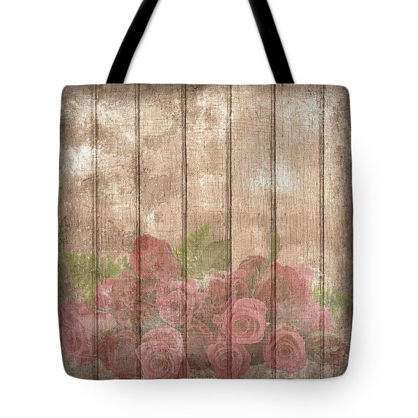 Faded Red Country Roses On Wood Tote Bag