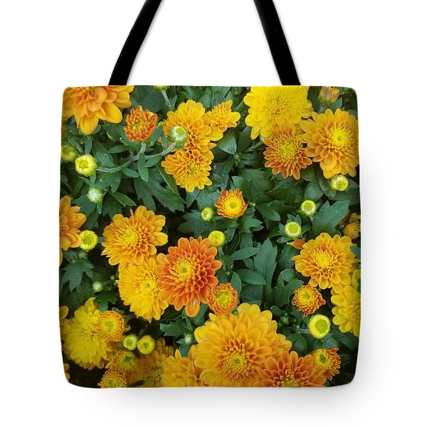 Tote Bag featuring the photograph Fall Chrysanthemums Autumn Orange by Rachel Hannah