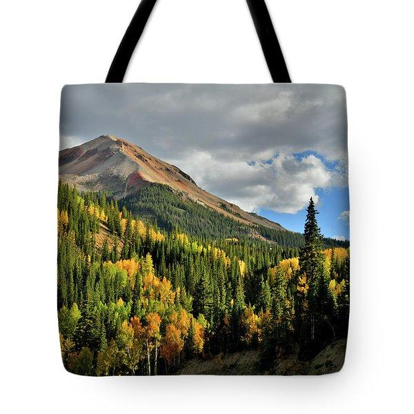 Fall Color Aspens Beneath Red Mountain Tote Bag