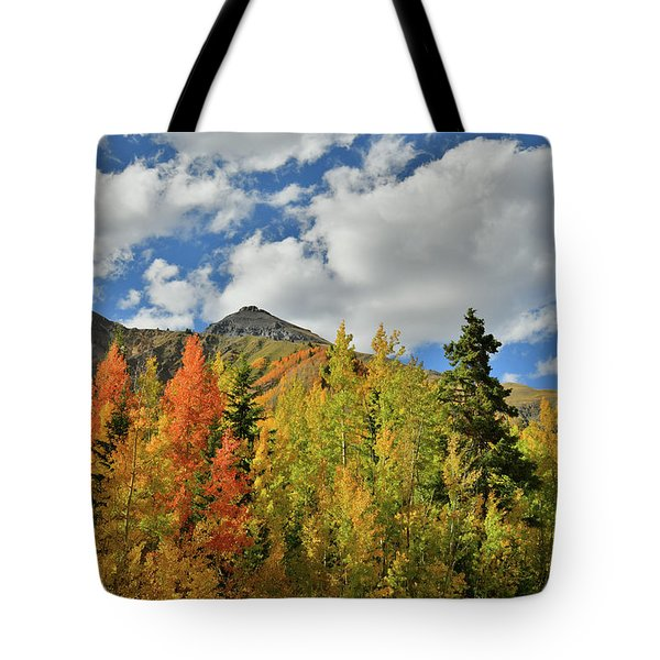 Fall Colored Aspens Bask In Sun At Red Mountain Pass Tote Bag