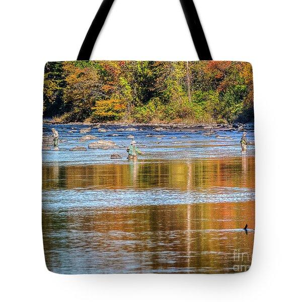 Fall Fishing Reflections Tote Bag