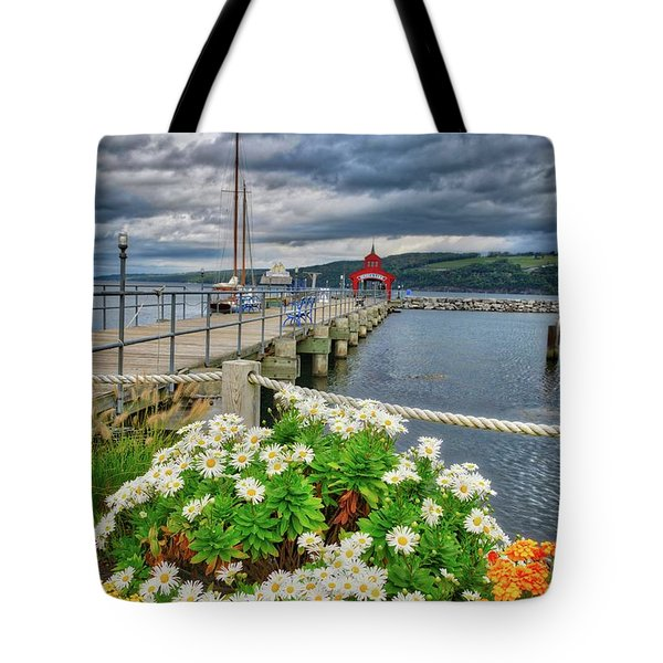 Tote Bag featuring the photograph Fall Flowers At Seneca Lake Marina by Lynn Bauer