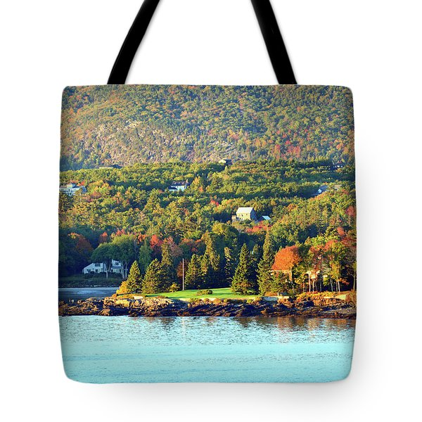 Tote Bag featuring the photograph Fall Foliage In Bar Harbor by Bill Swartwout Fine Art Photography