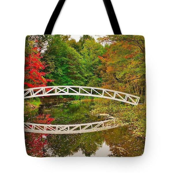 Fall Footbridge Reflection Tote Bag