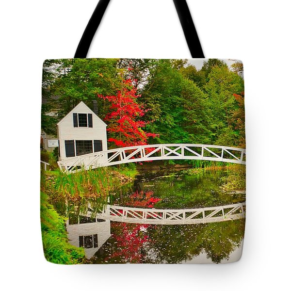 Fall Footbridge Reflection Tote Bag