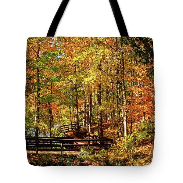 Fall Hike At Mirror Lake Tote Bag