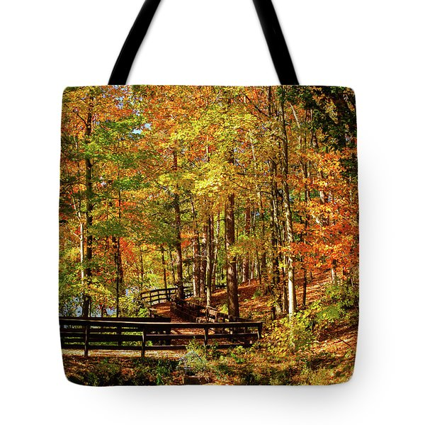 Fall Hike At Mirror Lake Tote Bag