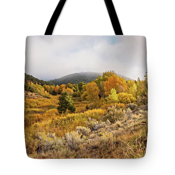 Fall Panorama Of Aspens And Cottonwoods At Twomile Reservoir Dale Ball Trails - Santa Fe New Mexico Tote Bag