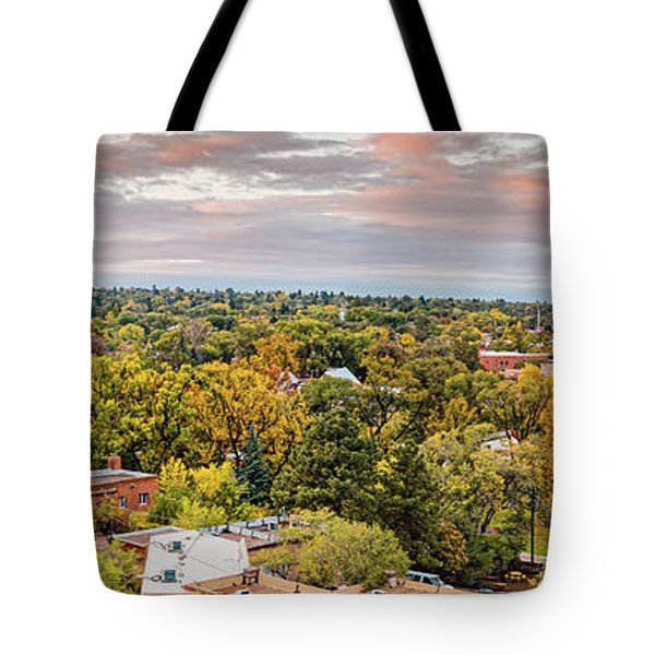 Fall Sunrise Panorama Of Santa Fe The City Different - New Mexico Land Of Enchantment  Tote Bag
