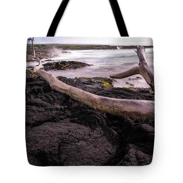 Fallen Tree At Punalu'u Beach Tote Bag