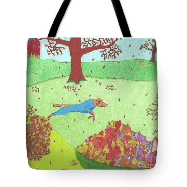 Tote Bag featuring the drawing Falling Leaves by John Wiegand