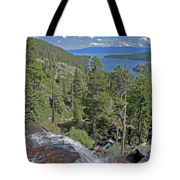 Tote Bag featuring the photograph Falls Above Emerald Cove by Lynda Lehmann