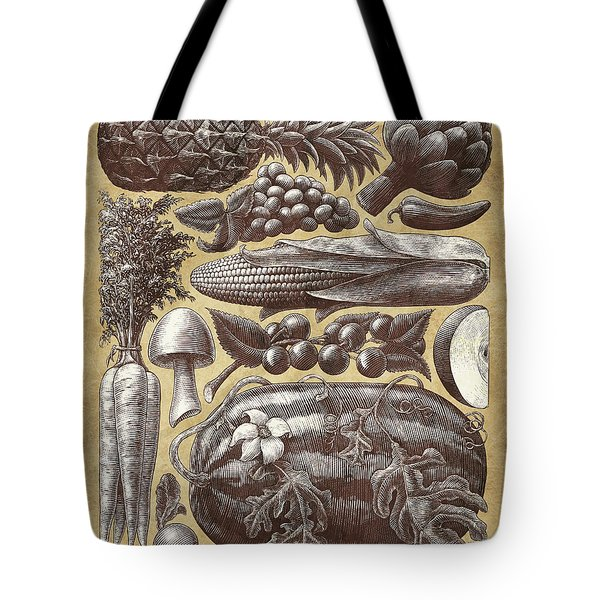 Tote Bag featuring the drawing Farmer's Market - Sepia by Clint Hansen