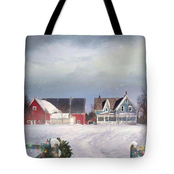 Farmhouse On Cold Winter Day Tote Bag