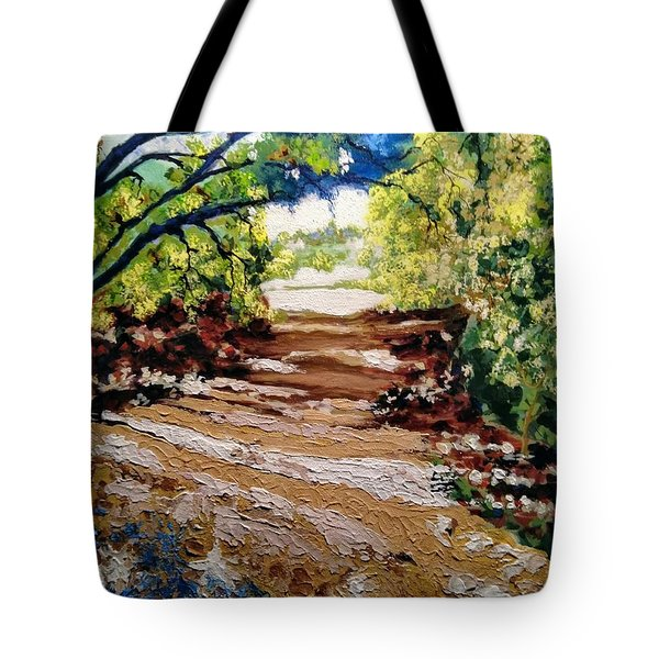 Tote Bag featuring the painting Fascinating Trail by Ray Khalife