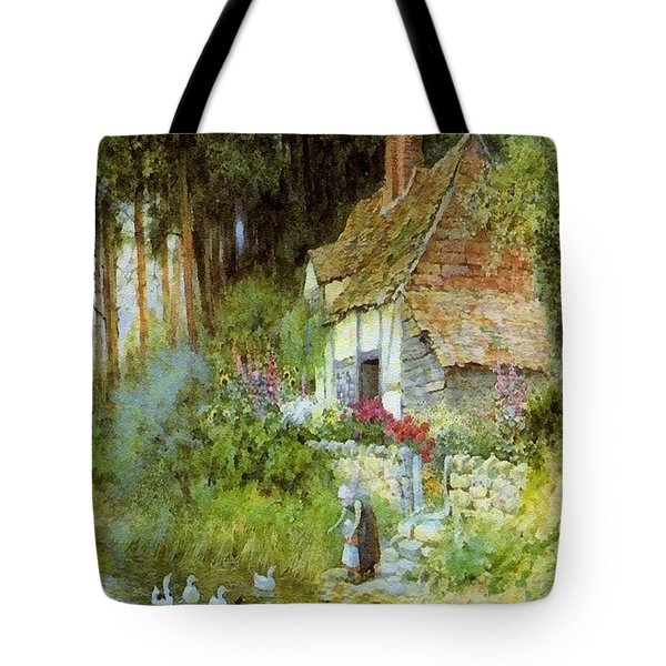 Feeding The Ducks - After The Original Painting By Arthur Claude Strachan L B Tote Bag