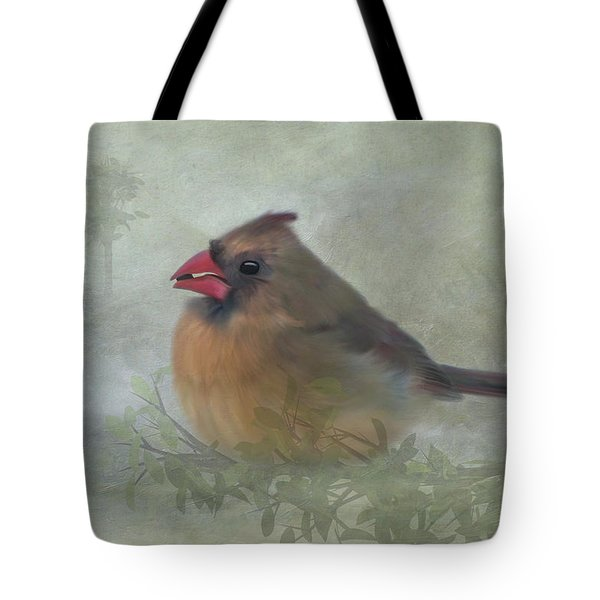 Female Cardinal With Seed Tote Bag