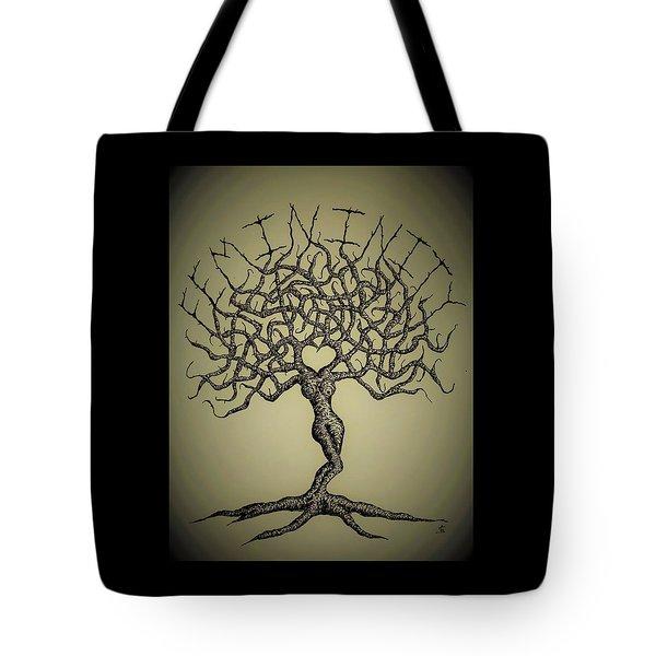 Femininity Love Tree B/w Tote Bag