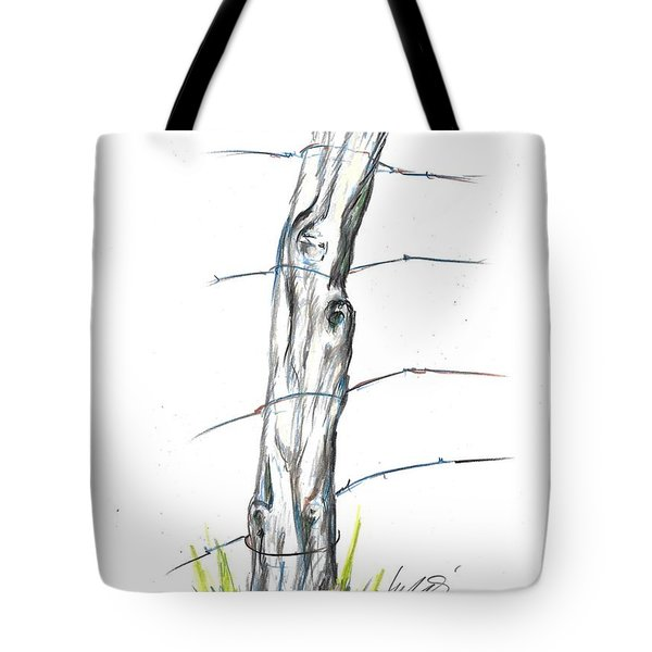 Fence Post Colored Pencil Sketch  Tote Bag
