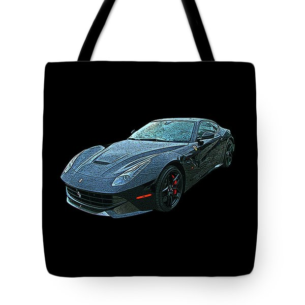 Ferrari F12 In Black Tote Bag