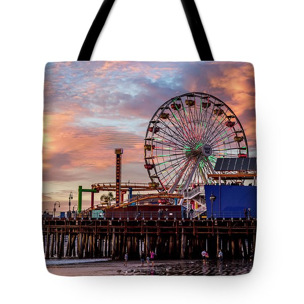 Ferris Wheel On The Pier - Square Tote Bag