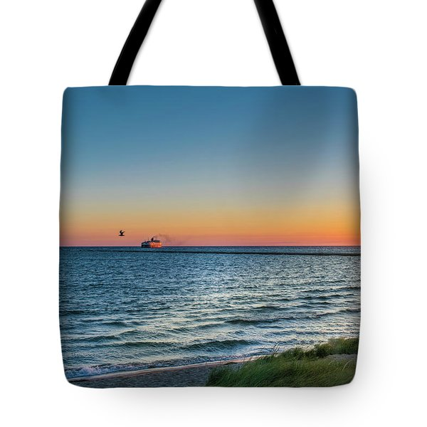Ferry Going Into Sunset Tote Bag