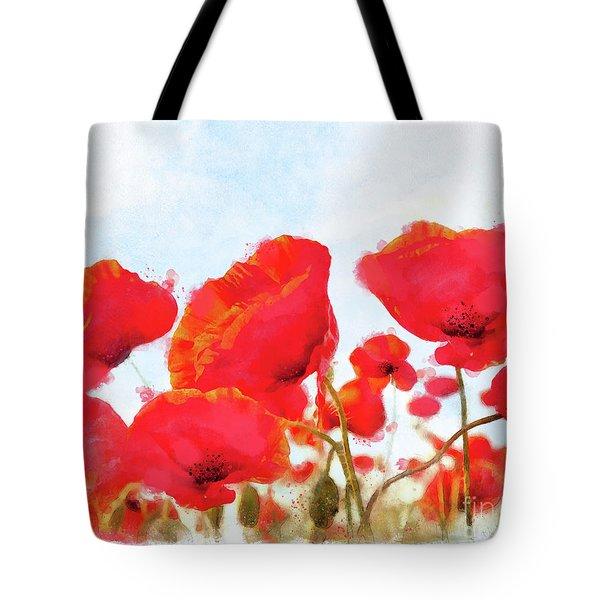 Field Of Dreams Poppy Watercolor Floral Art Tote Bag