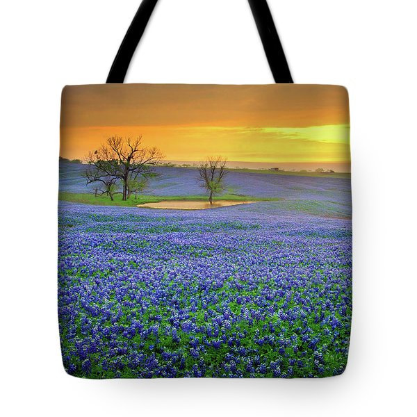 Field Of Dreams Texas Sunset - Texas Bluebonnet Wildflowers Landscape Flowers  Tote Bag