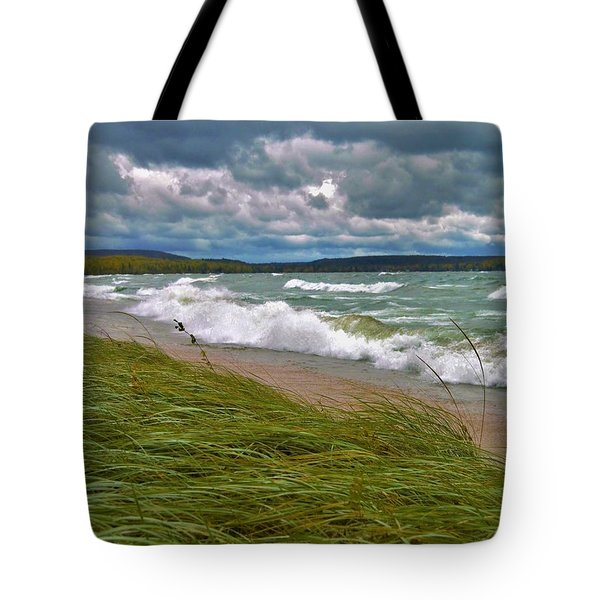 Field Of Green On Lake Superior Tote Bag