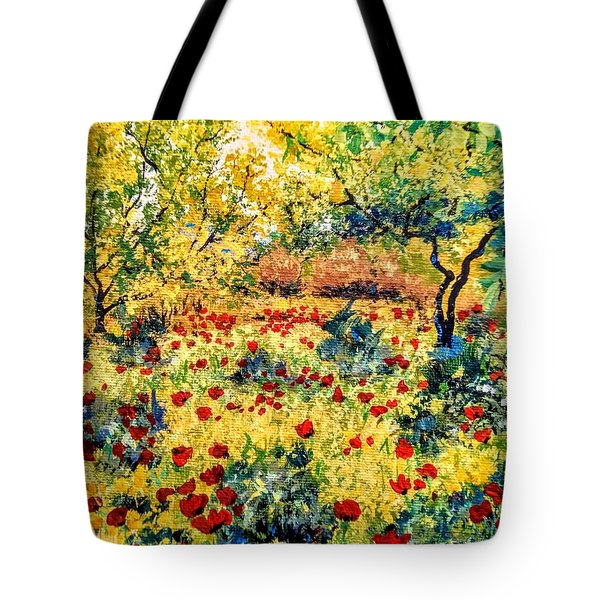 Tote Bag featuring the painting Field Of Poppies by Ray Khalife
