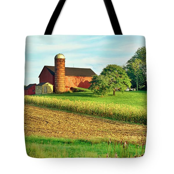 Field With Silo And Barn Tote Bag