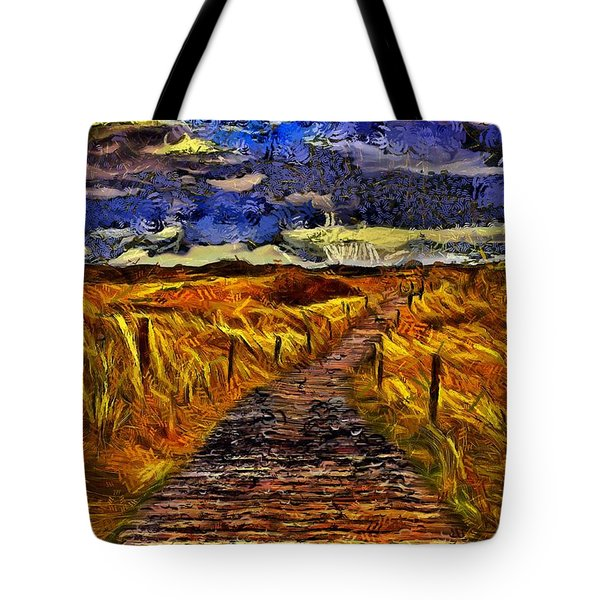 Tote Bag featuring the painting Fields Of Gold by Harry Warrick