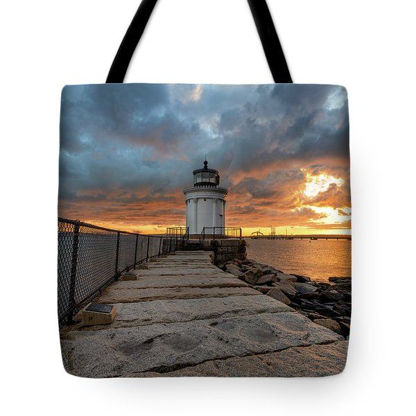 Fiery Skies At Bug Light Tote Bag