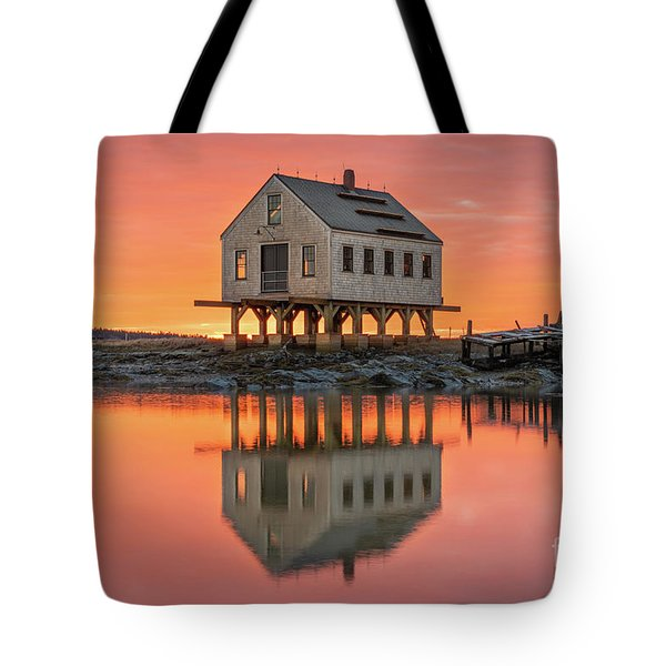 Fiery Skies At Cape Porpoise Tote Bag