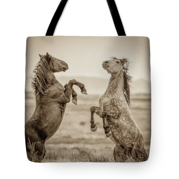 Fighting Stallions 2 Tote Bag