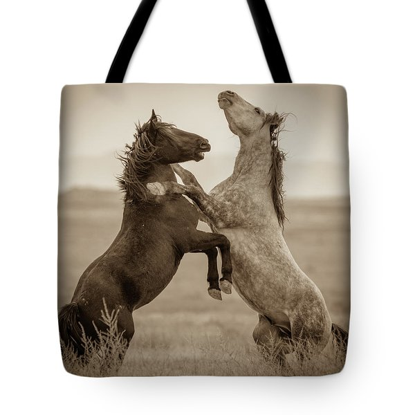 Fighting Stallions Tote Bag